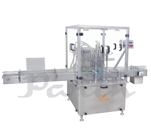 SEMI AUTOMATIC TWIN HEADS BOTTLE VOLUMETRIC LIQUID FILLING MACHINE
