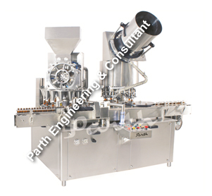 Automatic Rotary Dry Syrup Powder Filling with Screw/ROPP Capping Machine Model-PRMF-120